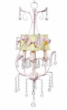 3 arm pink pear chandelier-green sconce shades