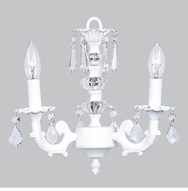 3 Arm Stacked Glass Ball Chandelier in White