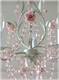 3-light tole chandelier, sage green and roses