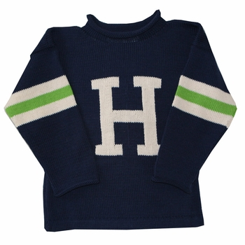 3 striped sleeve initial sweater