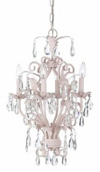 4 arm pink mackenzie chandelier-white sconce shades