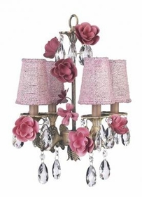 4 arm roses chandelier with pink shades