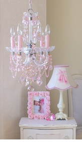 4 light Beaded Pink Crystal chandelier