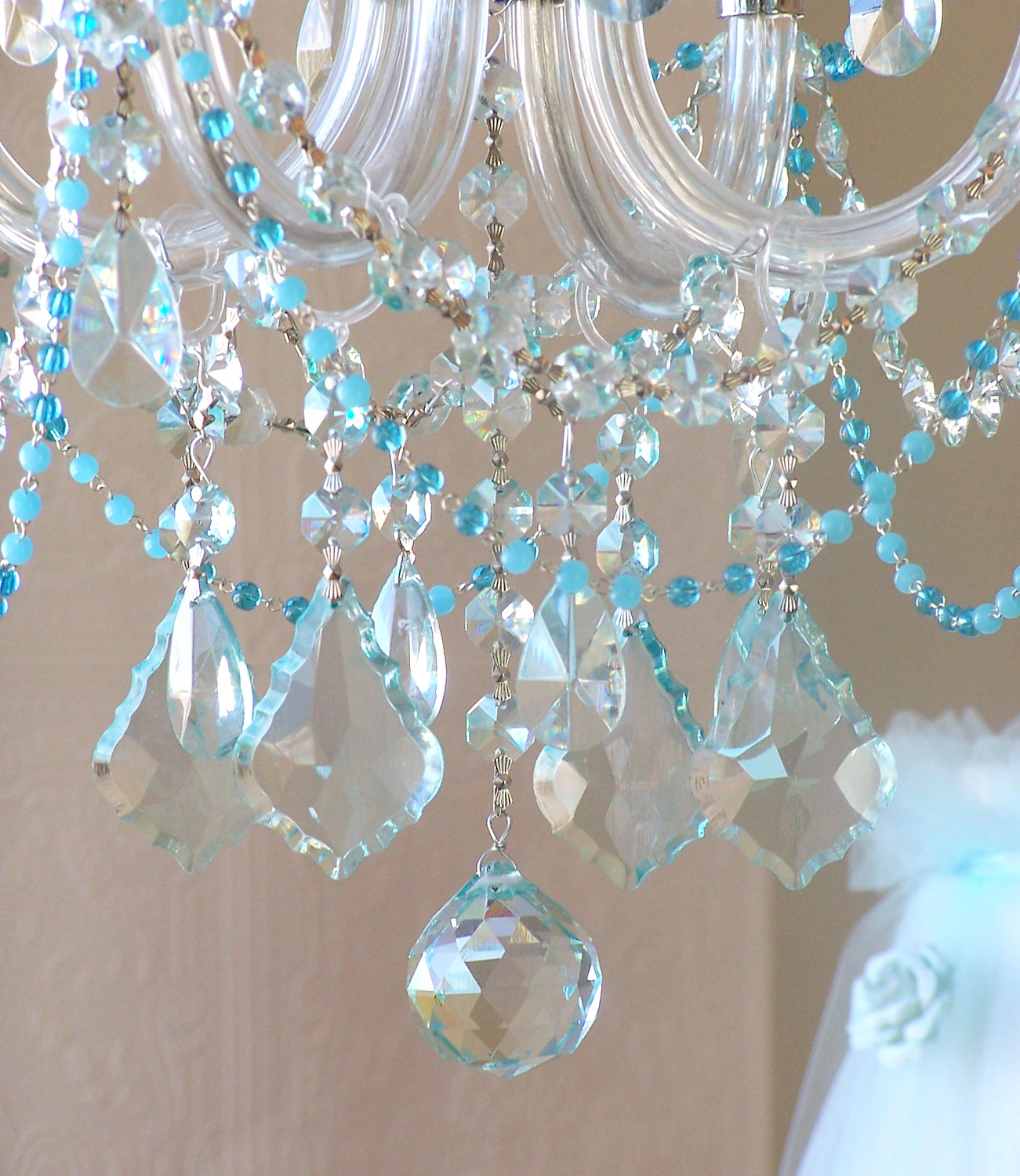 4 light Beaded Sea Blue Crystal chandelier