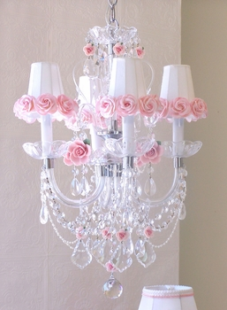 4 light crystal chandelier with pink porcelain roses & shades