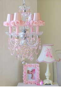 4 light pink crystal chandelier with rose-shades