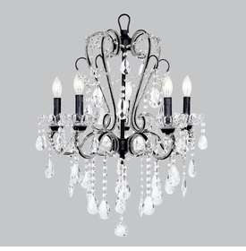 5 Arm Beaded Whimsical Chandelier in Black