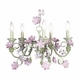 5-arm pink and green flower chandelier w/pink shades