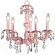 5 arm pink chateau chandelier - ivory pink bow shades