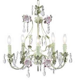 5 arm pink/green flower garden chandelier