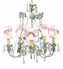5 arm pink/green flower garden chandelier-white sconce shades