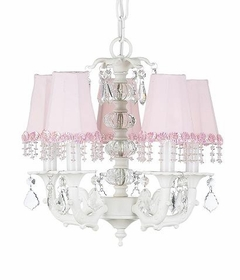 5-arm white glass ball chandelier - with  pearl shades