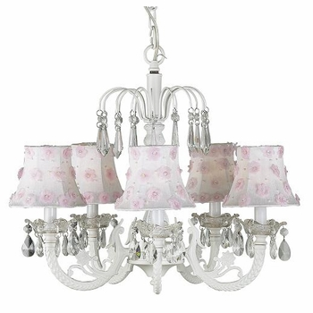 5-arm white waterfall chandelier-pink flower shades