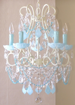 5 light Beaded chandelier with Opal Aqua-Blue Crystals