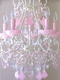 5 light beaded chandelier with opal pink crystals