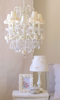 5 light chandelier with cream rose-shades