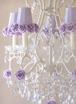 5 light chandelier with lavender rose-shades