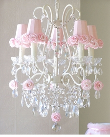 5 light chandelier with�pink rose-shades