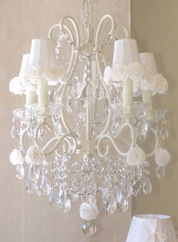 5 light chandelier with white rose-shades