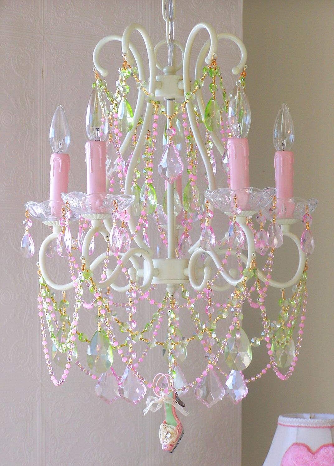 5 light diva chandelier with pink green crystals arubaitofo Image collections
