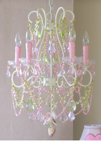 5 light Diva chandelier with Pink & Green Crystals