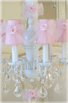 6 light white chandelier with pink tulle shades