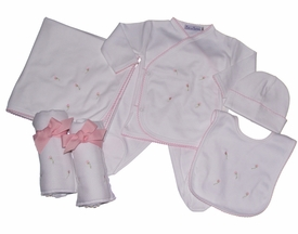 6 piece rosebud layette set