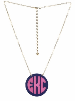 acrylic cannes two-tone monogram necklace