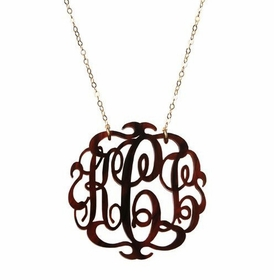 acrylic script monogram necklace by moon and lola