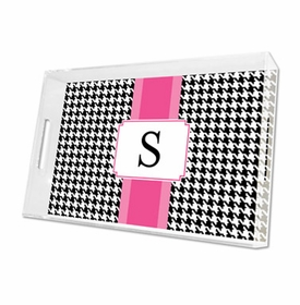 alex houndstooth black lucite tray - large