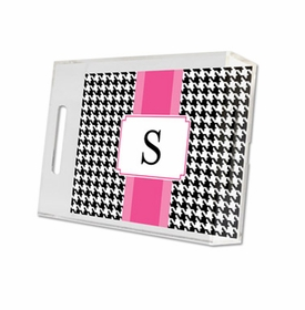 alex houndstooth black lucite tray - small