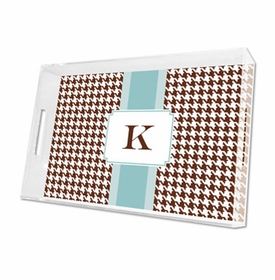 alex houndstooth chocolate lucite tray - large