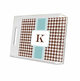 alex houndstooth chocolate lucite tray - small