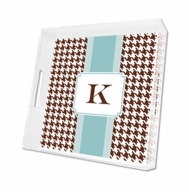 alex houndstooth chocolate lucite tray - square