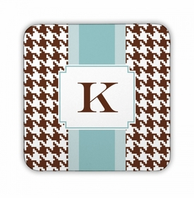 Alex Houndstooth Chocolate Square Coaster