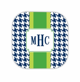 alex houndstooth navy hardback rounded coaster<br>(set of 4)