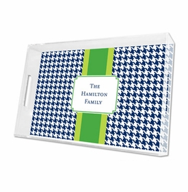 alex houndstooth navy lucite tray - large