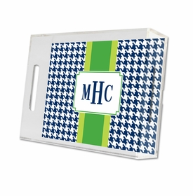 alex houndstooth navy lucite tray - small