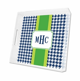 alex houndstooth navy lucite tray - square