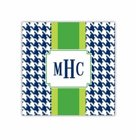 alex houndstooth navy square paper coaster<br>set of 50