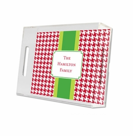 alex houndstooth red lucite tray - small