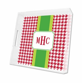 alex houndstooth red lucite tray - square