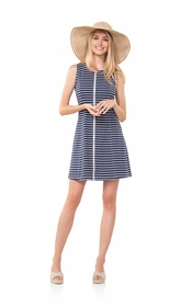 all zipped up in navy and white stripes dress