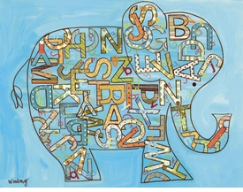 alphabet elephant wall art