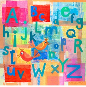 alphabet with kooky birds wall art  by gale kaseguma