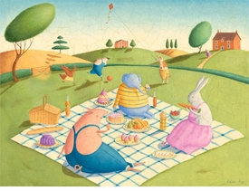 animal picnic wall art by alison jay