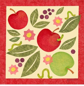 apples and inchworms wall art