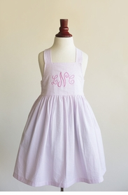 apron dress in pink bulldog