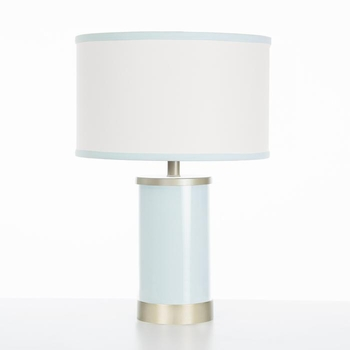 aqua table lamp gold trim