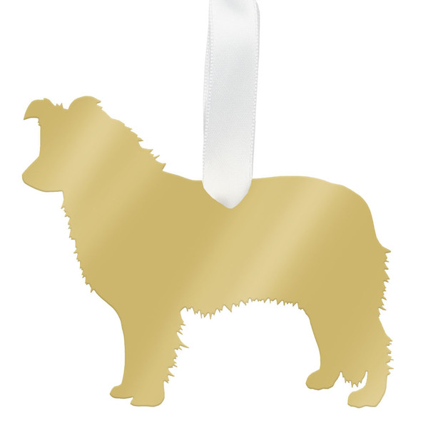 moon and lola australian shepherd christmas ornament - gold - Australian Shepherd Christmas Ornament - Gold